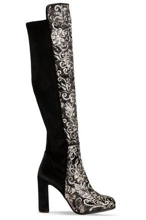 STUART WEITZMAN Embellished velvet knee boots