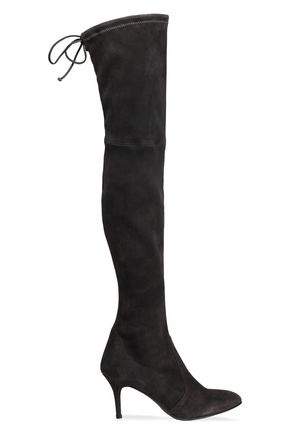 STUART WEITZMAN Bow-detailed suede over-the-knee boots