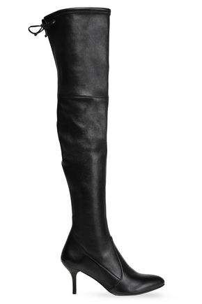 STUART WEITZMAN Bow-detailed stretch-leather over-the-knee boots