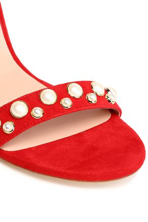 STUART WEITZMAN Faux pearl-embellished suede sandals