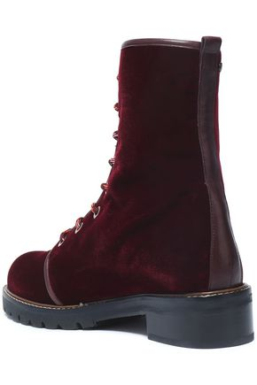 Lace Up Velvet Ankle Boots by Stuart Weitzman
