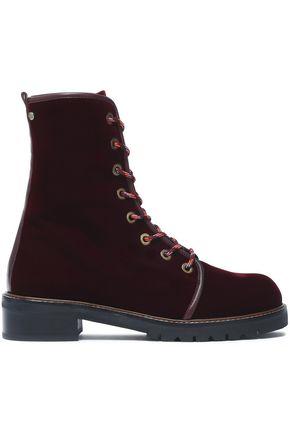 STUART WEITZMAN Lace-up velvet ankle boots