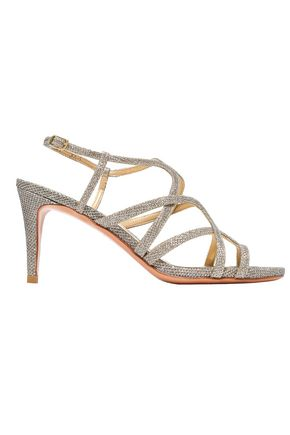 STUART WEITZMAN Turning Up textured-lamé sandals