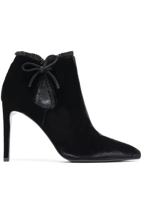 STUART WEITZMAN Cutout bow-detailed velvet ankle boots