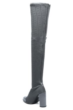 STUART WEITZMAN Leather-trimmed embellished pointelle-knit over-the-knee boots