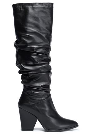 STUART WEITZMAN Gathered leather boots