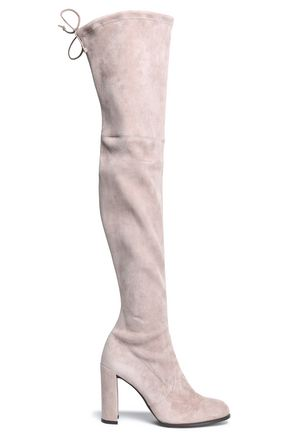 Hiline Stretch Suede Over The Knee Boots by Stuart Weitzman