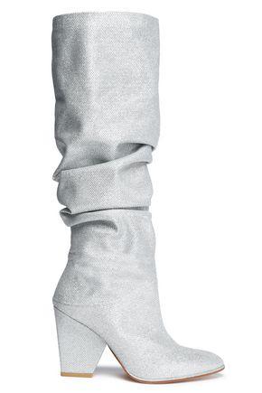 STUART WEITZMAN Ruched textured-lamé boots