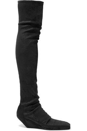 RICK OWENS Coated textured-leather thigh boots