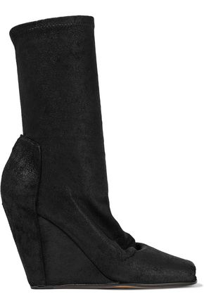 RICK OWENS Textured stretch-leather wedge sock boots