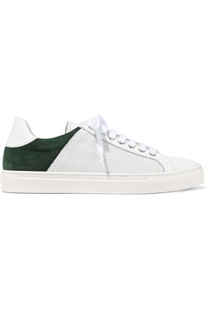 IRIS & INK Rory suede-paneled perforated leather sneakers