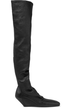 RICK OWENS Stivali textured-leather thigh boots