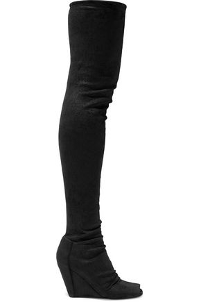 RICK OWENS Coated nubuck thigh boots