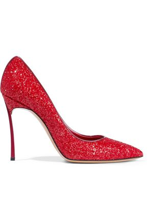 CASADEI Glittered leather pumps