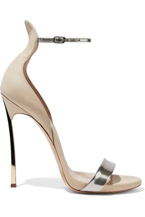 CASADEI Techno Blade matte and metallic leather sandals
