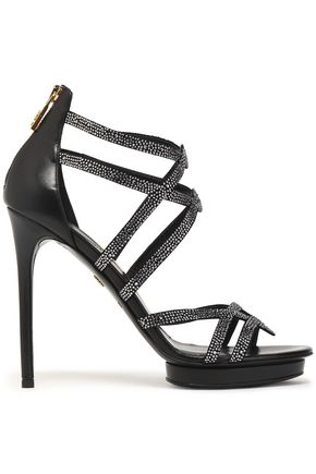 ROBERTO CAVALLI Crystal-embellished leather sandals