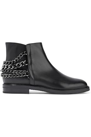 CASADEI Chain-trimmed leather ankle boots