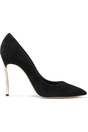 CASADEI Blade faux pearl-embellished suede pumps