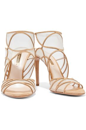CASADEI Mesh-paneled suede sandals