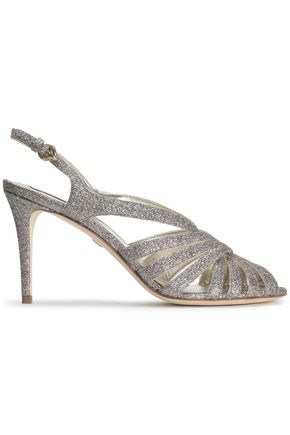ROBERTO CAVALLI Cutout glittered leather sandals