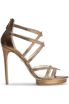 ROBERTO CAVALLI Crystal-embellished metallic leather platform sandals