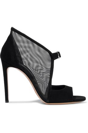 CASADEI Mesh and suede sandals