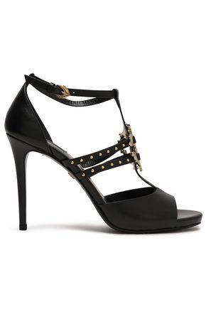 ROBERTO CAVALLI Embellished leather platform sandals