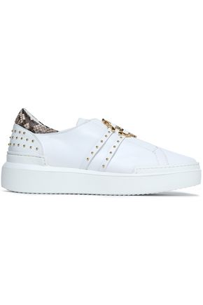 ROBERTO CAVALLI Python-trimmed embellished leather sneakers