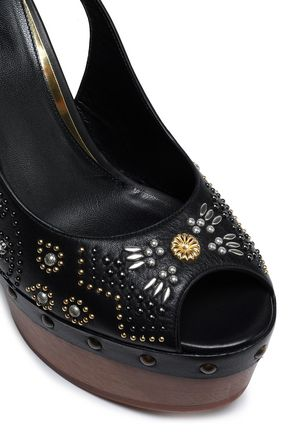 ROBERTO CAVALLI Studded leather platform sandals