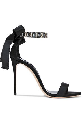 CASADEI Crystal-embellished grosgrain and satin sandals