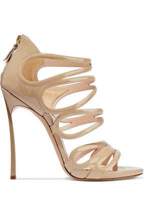 CASADEI Cutout glittered patent-leather sandals