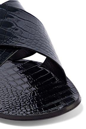 CASADEI Croc-effect patent-leather slides