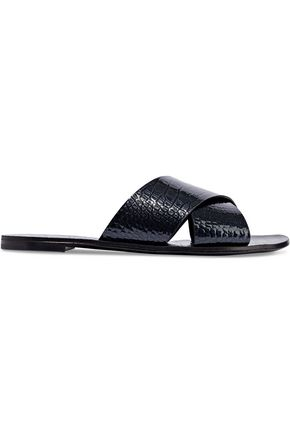 CASADEI Croc-effect patent-leather slides