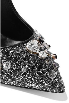 CASADEI Crystal-embellished glittered leather pumps
