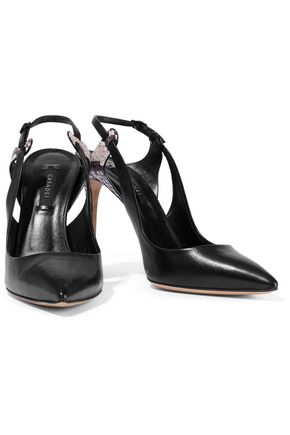 CASADEI Snake-effect and smooth leather slingback pumps