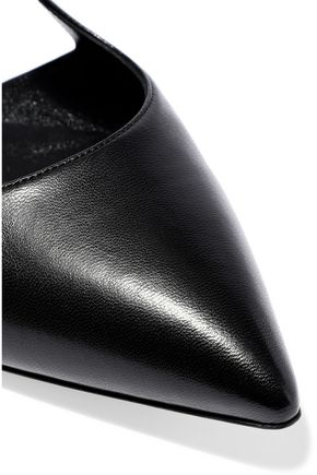 CASADEI Mirrored and smooth leather point-toe flats