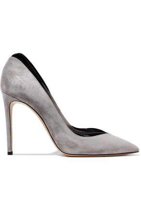 Patent Leather Trimmed Suede Pumps by Casadei