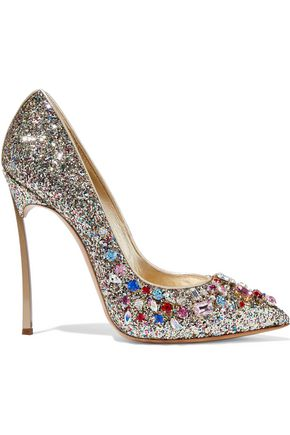 CASADEI Crystal-embellished glittered leather pumps