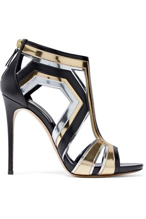 CASADEI Cutout mirrored and smooth leather sandals