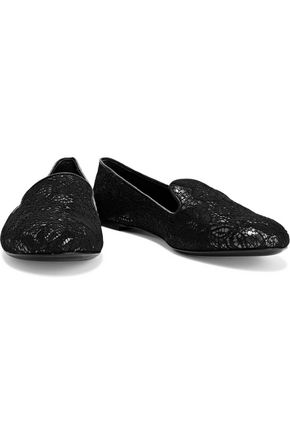 CASADEI Lace-appliquéd metallic leather slippers