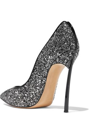 CASADEI Patent leather-trimmed glittered leather pumps