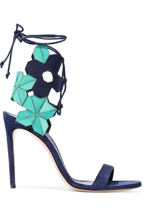 CASADEI Lace-up laser-cut leather and suede sandals