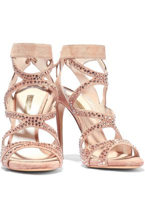 CASADEI Cutout crystal-embellished suede sandals
