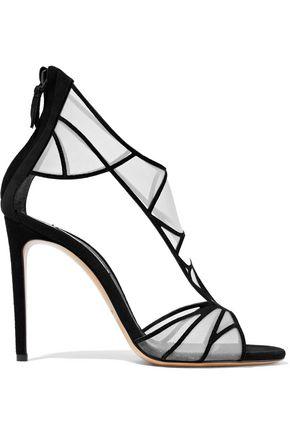 CASADEI Mesh-paneled suede sandals