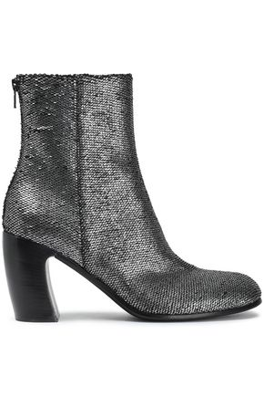 ANN DEMEULEMEESTER Textured-lamé ankle boots