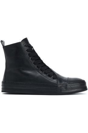 ANN DEMEULEMEESTER Lace-up lather ankle boots