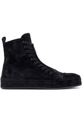 ANN DEMEULEMEESTER Lace-up velvet ankle boots