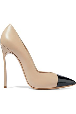 CASADEI Two-tone smooth and patent-leather pumps