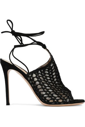 GIANVITO ROSSI Bardot crochet-knit and suede mules