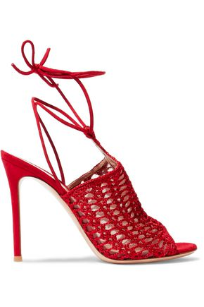 cf090ff5e5d GIANVITO ROSSI Bardot suede and crochet-knit sandals